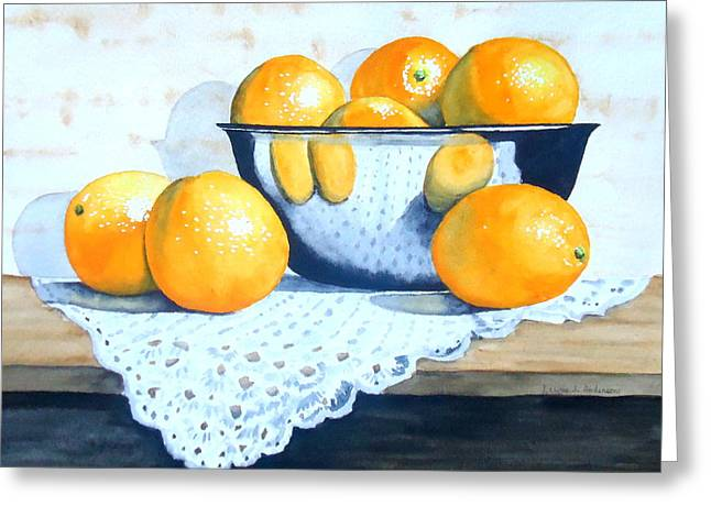 Bowl Of Oranges Greeting Card