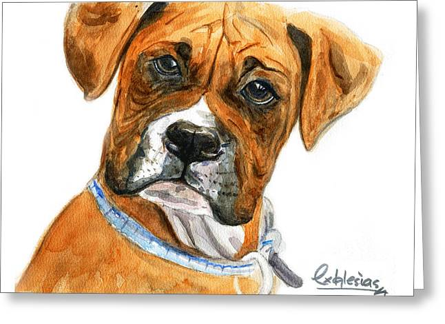 Boxer Greeting Card by David Iglesias