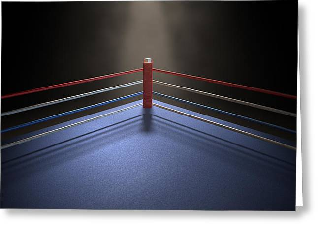Boxing Corner Spotlit Dark Greeting Card by Allan Swart