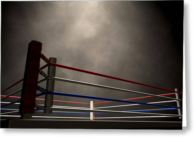 Boxing Ring Spotlit Dark Greeting Card by Allan Swart