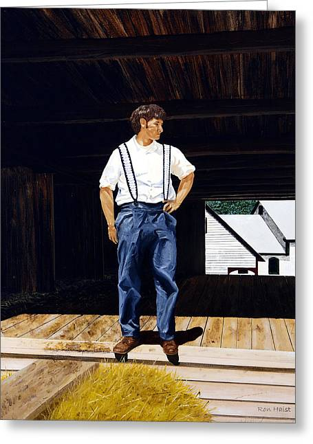 Greeting Card featuring the painting Boy In The Barn by Ron Haist