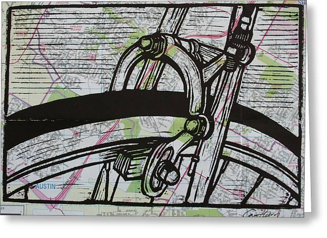 Brake On Map Greeting Card by William Cauthern