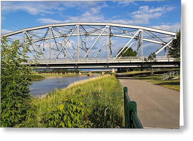 2 Bridges Greeting Card by Scott Grassel