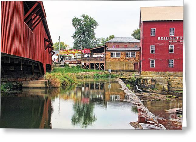 Bridgeton Mill And Covered Bridge Greeting Card by Jack Schultz