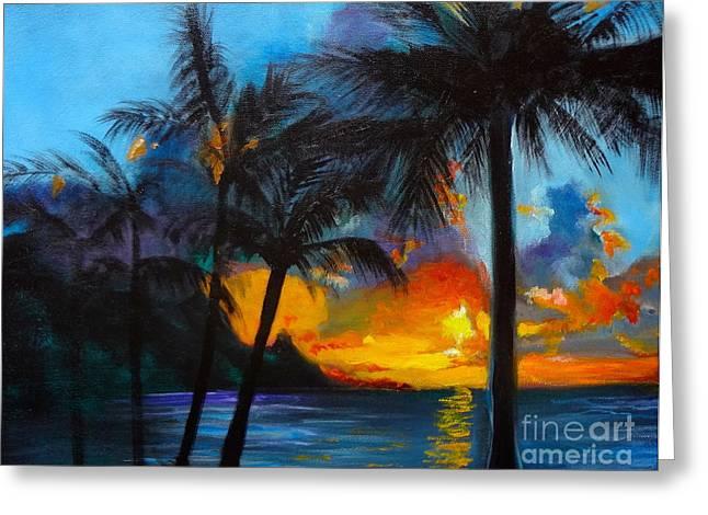 Brilliant Hawaiian Sunset 1 Greeting Card