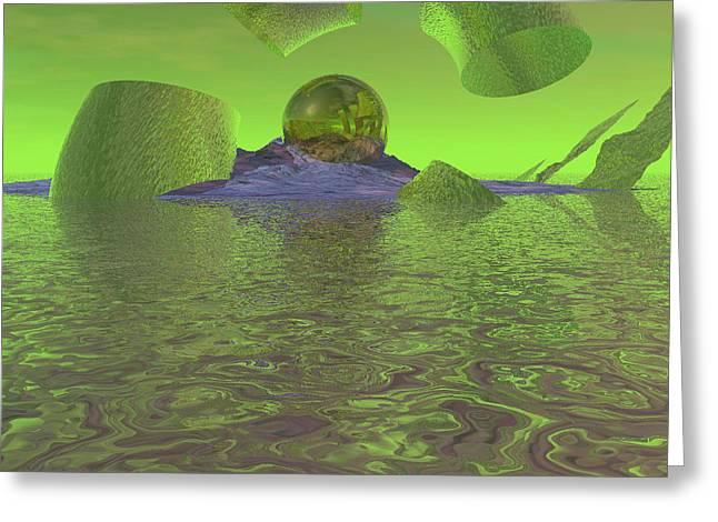 Broken Planet Greeting Card by Wayne Bonney
