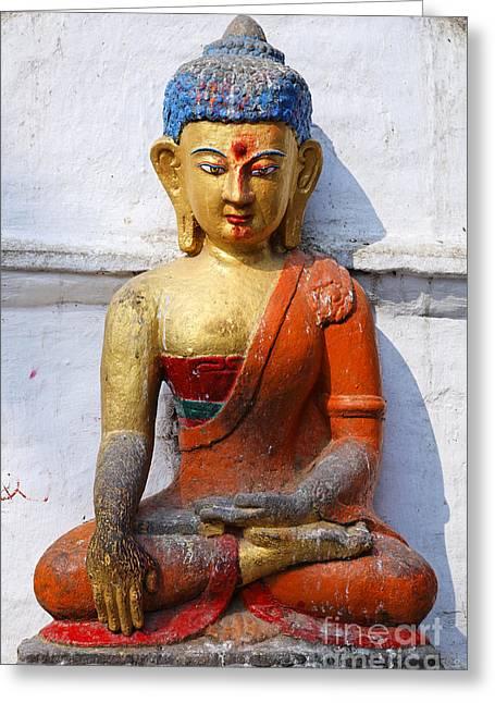 Buddha Figure In Kathmandu Nepal Greeting Card