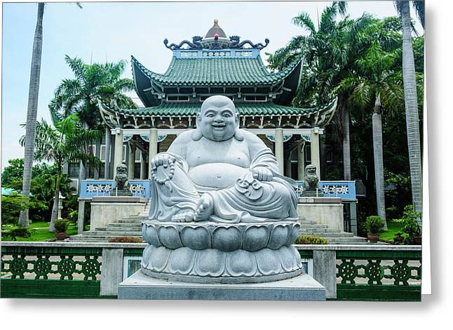 Buddhist Statue Before The Taoist Greeting Card by Michael Runkel