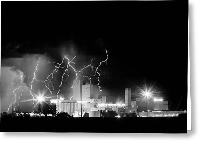 Budweiser Lightning Thunderstorm Moving Out Bw Greeting Card