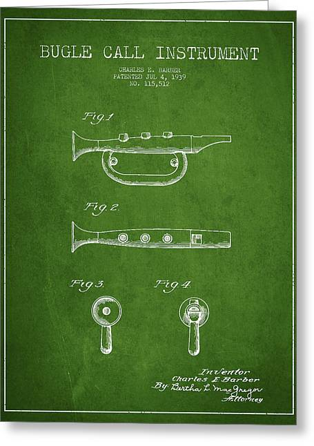 Bugle Call Instrument Patent Drawing From 1939 - Green Greeting Card by Aged Pixel