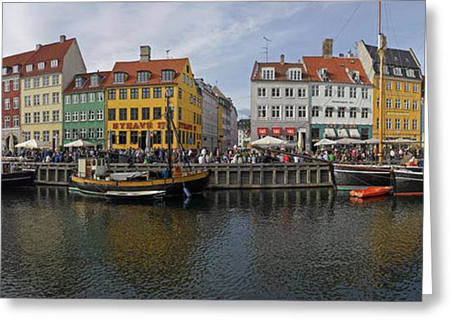 Buildings Along A Canal With Boats Greeting Card