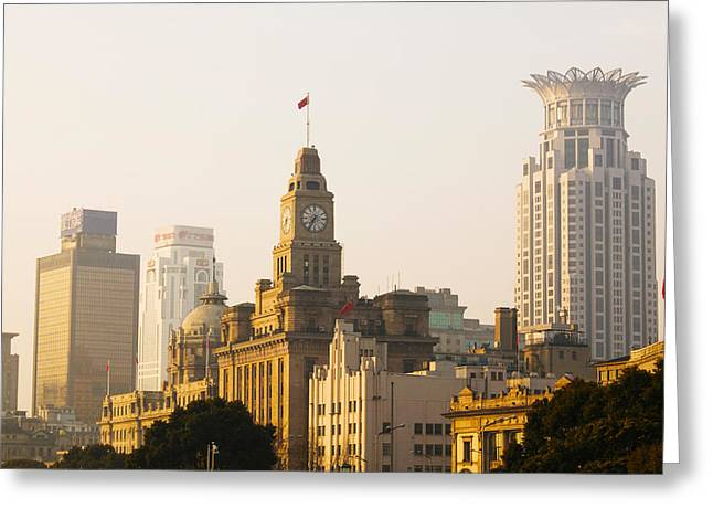 Buildings In A City At Dawn, The Bund Greeting Card