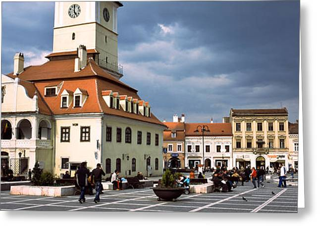Buildings In A City, Town Center Greeting Card