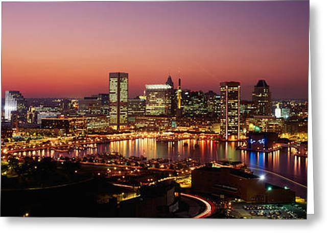 Buildings Lit Up At Dusk, Baltimore Greeting Card