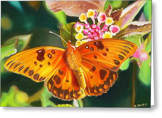 Greeting Card featuring the painting Butterfly And Lantana by Phyllis Beiser