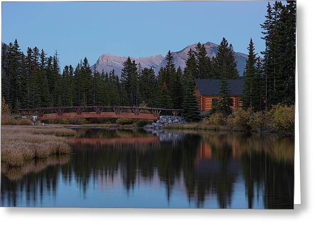 Cabin And Bridge On Policemans Creek Greeting Card by Panoramic Images