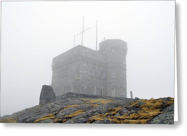 Cabot Tower In The Fog. Newfoundland. Greeting Card