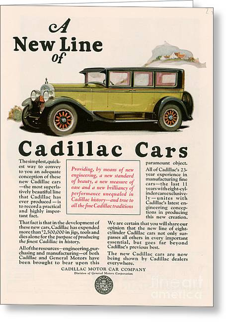 Cadillac 1925 1920s Usa Cc Cars Greeting Card by The Advertising Archives
