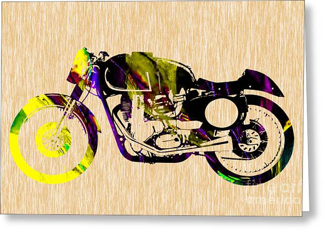 Cafe Racer Painting Greeting Card