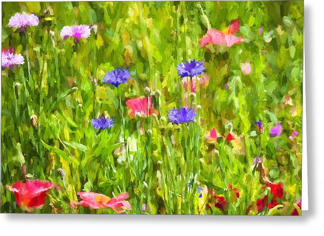 California Poppies Painted Greeting Card by Rich Franco