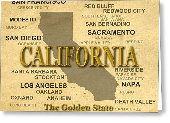 California State Pride Map Silhouette  Greeting Card by Keith Webber Jr