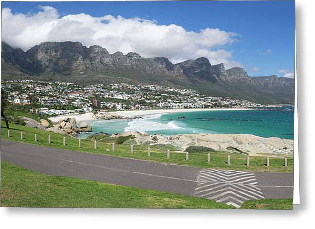 Camps Bay With Twelve Apostles Mountain Greeting Card