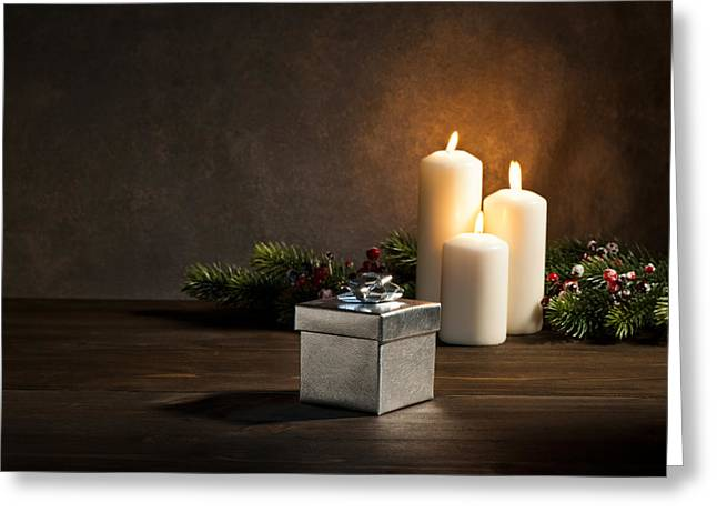 Candles Present In Christmas Setting Greeting Card by Ulrich Schade