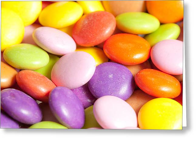 Candy Background Greeting Card by Tom Gowanlock