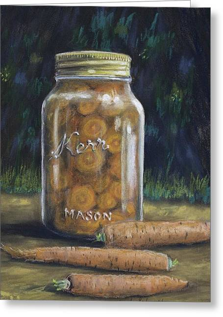 Greeting Card featuring the painting Canned Carrots by Claude Schneider