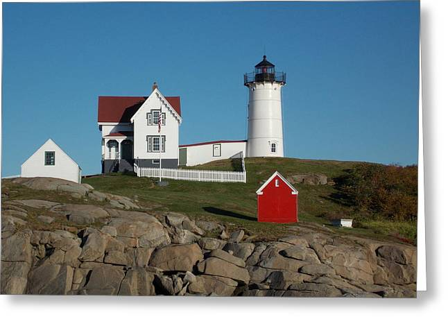 Cape Neddick Greeting Card by Catherine Gagne