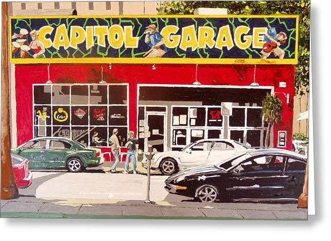 Capitol Garage Greeting Card by Paul Guyer