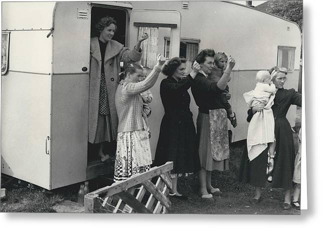 Caravan Site Eviction Force Withdraws Greeting Card by Retro Images Archive