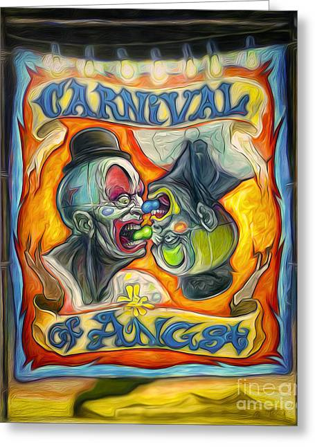 Carnival Of Angst Greeting Card by Gregory Dyer