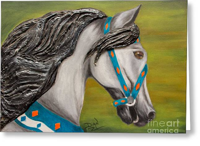 Carousel Horse Storm Chaser Greeting Card