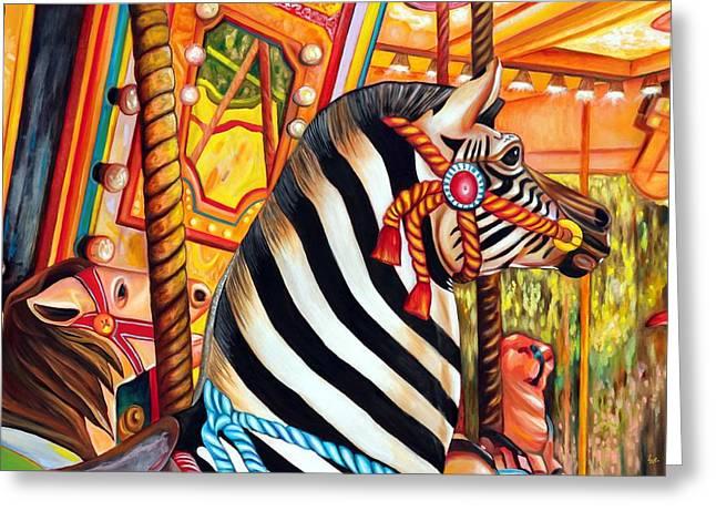 Carousel King Greeting Card by Eve  Wheeler