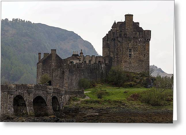 Cartoon - Structure Of The Eilean Donan Castle With A Stone Bridge Greeting Card