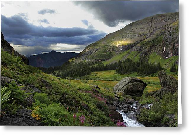 Greeting Card featuring the photograph Cascade In Lower Ice Lake Basin by Alan Vance Ley