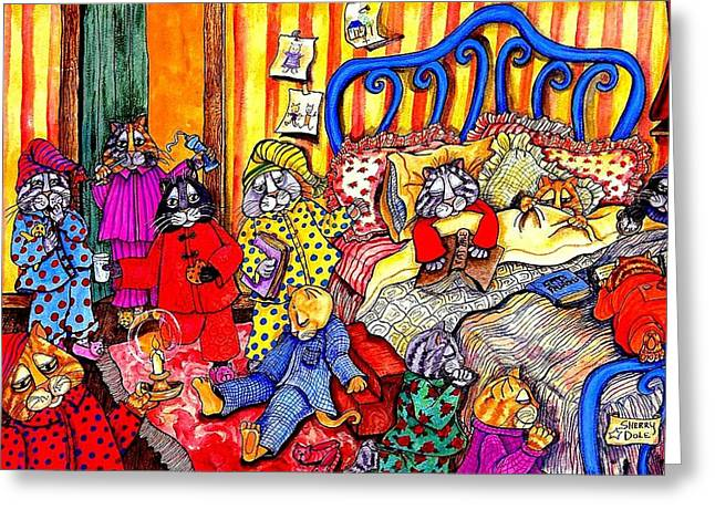 Cats Pajamas Greeting Card by Sherry Dole