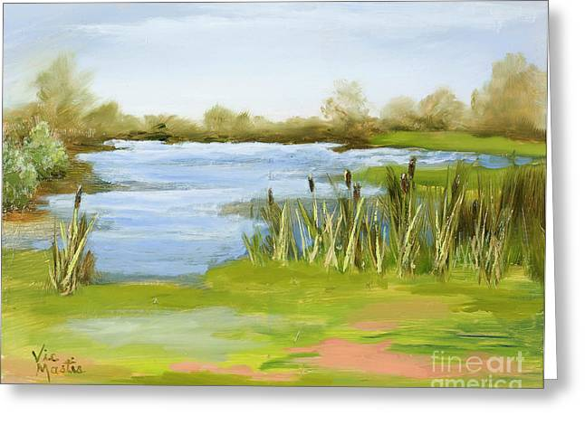 Greeting Card featuring the painting Cattails At Forest Park by Vic  Mastis