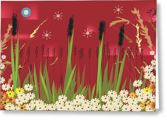 Greeting Card featuring the digital art Cattails by Kim Prowse