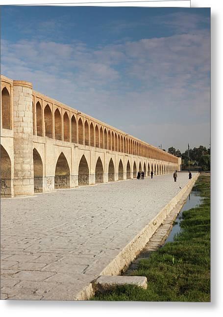 Central Iran, Esfahan, Si-o-seh Bridge Greeting Card