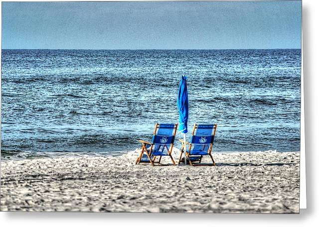 2 Chairs And Umbrella Greeting Card by Michael Thomas