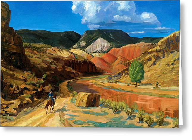 Chama Running Red Greeting Card by John Sloan