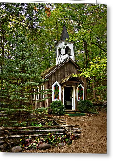 Chapel In The Woods Greeting Card by Judy  Johnson