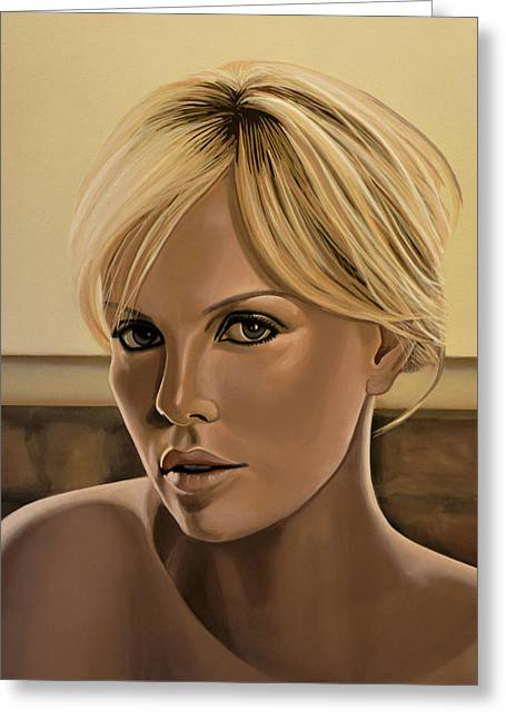 Charlize Theron Painting Greeting Card by Paul Meijering
