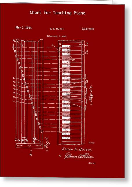 Chart For Teaching Piano Patent 1944 Greeting Card by Mountain Dreams