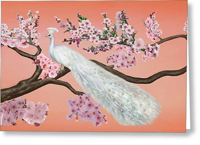 Cherry Blossom Peacock Greeting Card