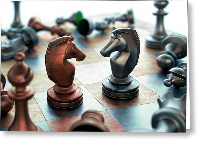 Chess Pieces On Chess Board Greeting Card by Ktsdesign