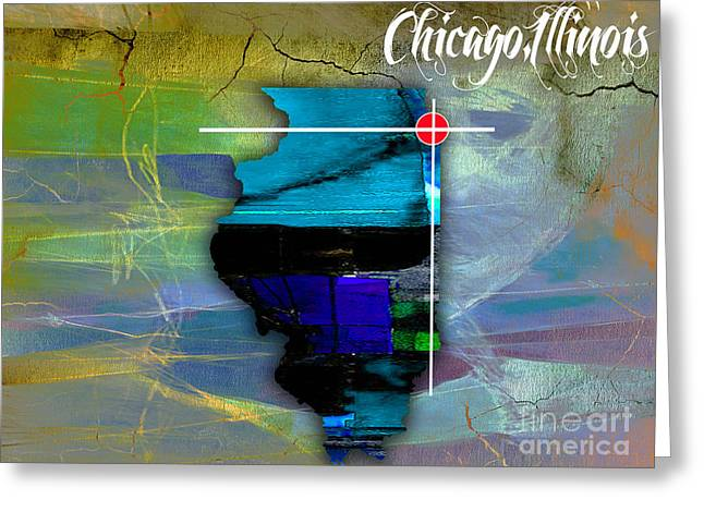 Chicago Illinois Map Watercolor Greeting Card