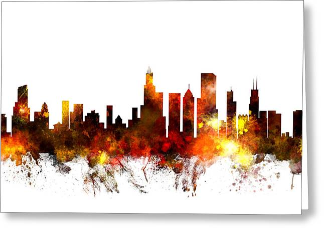 Chicago Illinois Skyline Greeting Card by Michael Tompsett